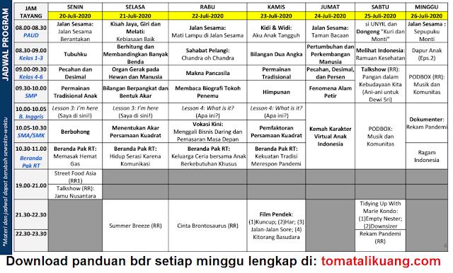 Jadwal Program Panduan Belajar Dari Rumah TVRI 20 21 22 23 24 25 26 Juli 2020; jadwal bdr minggu ini; tomatalikuang.com
