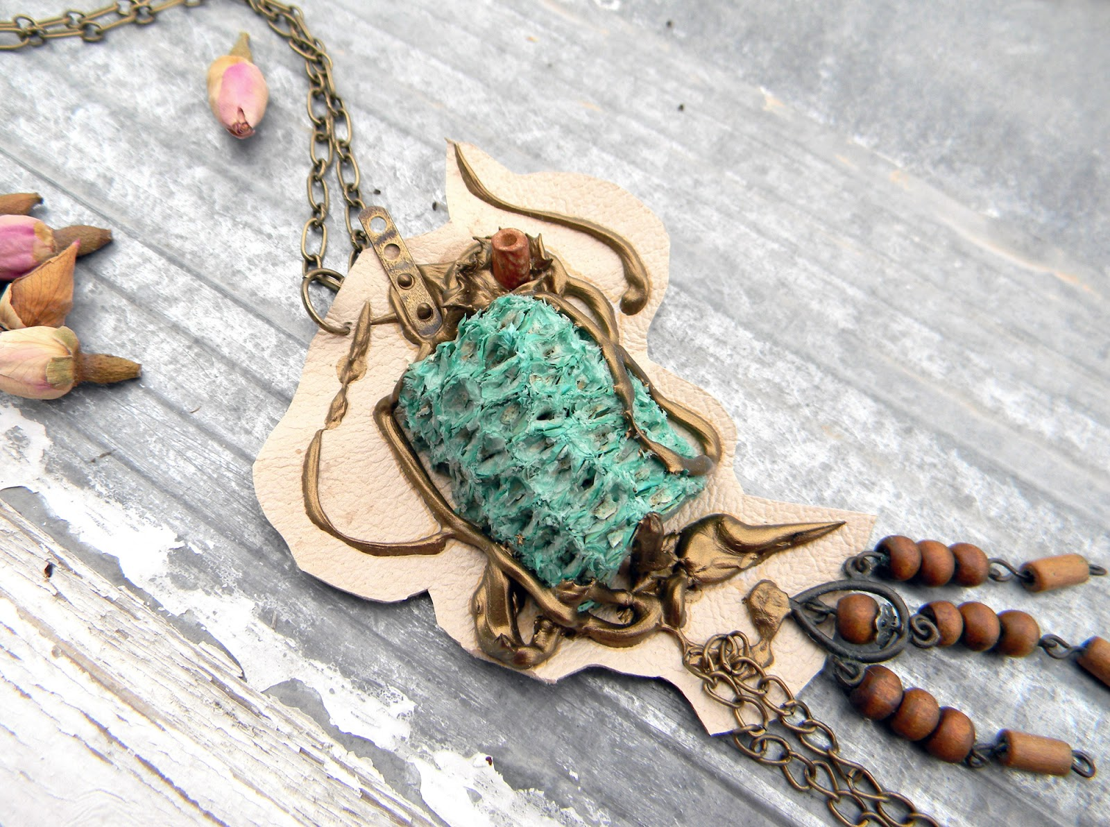 Unique Handmade Necklace Steampunk Eco Chic Jewelry Fashion Handcrafted Jewelry