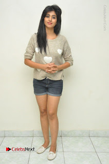 Actress Model Shamili (Varshini Sounderajan) Stills in Denim Shorts at Swachh Hyderabad Cricket Press Meet  0043.JPG