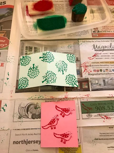 Potli Bag of Wonders, block printing tutorial, wood blocks, fabric crafts, blah to TADA, stamping, bird wood block, tree wood block, fish wood block, printing on fabric, crafts, handmade, uses for fabric scraps