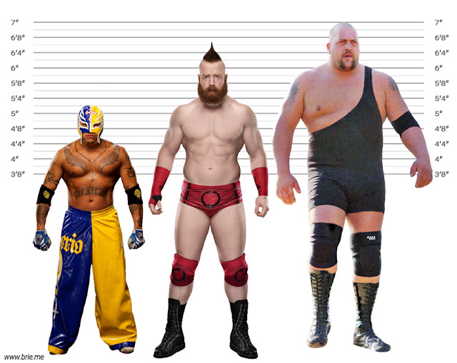 Sheamus height comparison with Rey Mysterio and Big Show