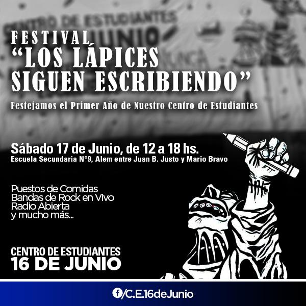 """Flyer para el 1er. Aniversario del Centro de Estudiantes """"16 de Junio"""""""