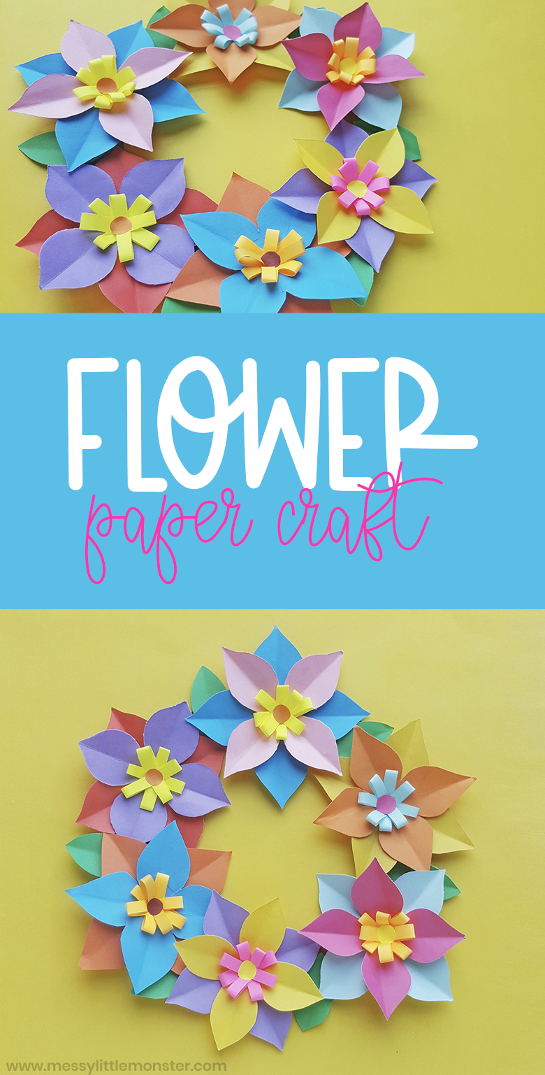 Paper flower craft for kids. Make a paper flower wreath using colourful paper flowers. This is such a fun kids craft.