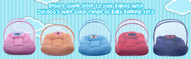Cutieco Soft and Comfortable New Born Baby Bedding Set with Mosquito Net and Pillow To Protect Baby