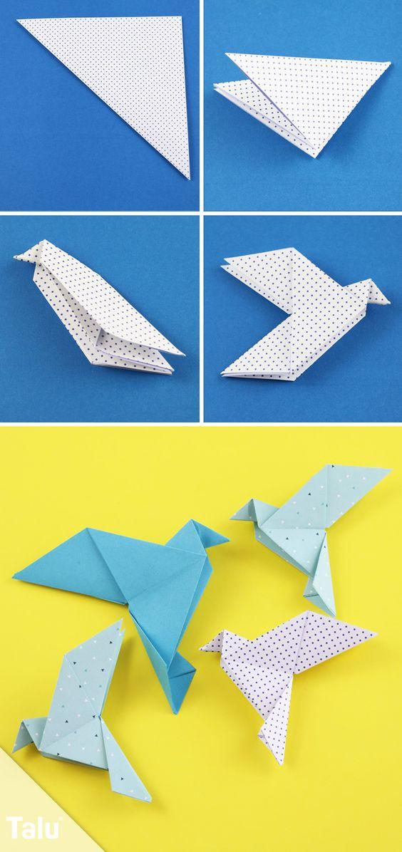 Kostenlose Faltanleitung - Origami Taube falten