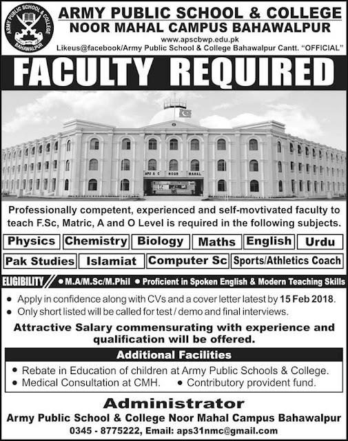 Army Public School Jobs in Bahawalpur 2018
