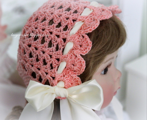 Free Crochet Vintage Baby Hat Patterns : Lacy Crochet: Lacy Vintage Bonnet, Free Crochet Pattern