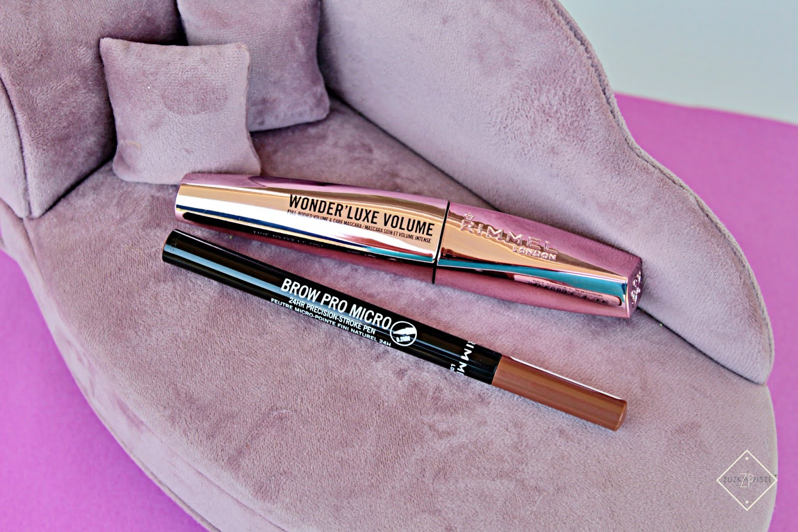 Tusz do rzęs RIMMEL Wonder'Luxe Volume & pisak do brwi Brow Pro Micro 24h