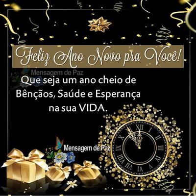 Feliz Ano Novo pra Você! Que seja um ano cheio de Bênçãos,  Saúde e Esperança na sua VIDA. Feliz Ano Novo!