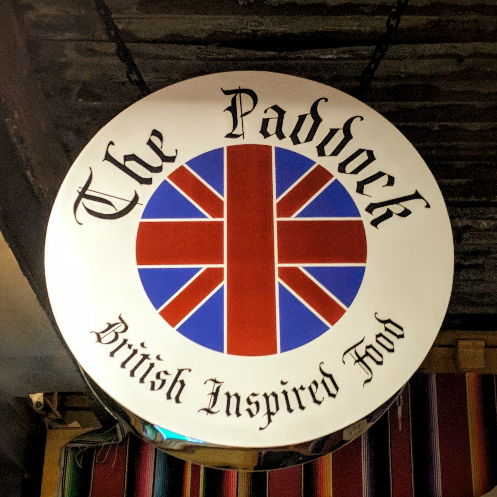'The Paddocks - British Inspired Food', sign