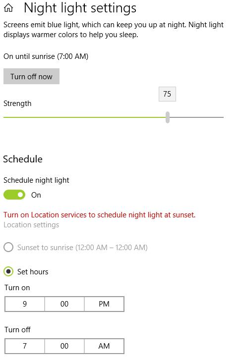 NIght Light terjadwal secara otomatis di Windows 10