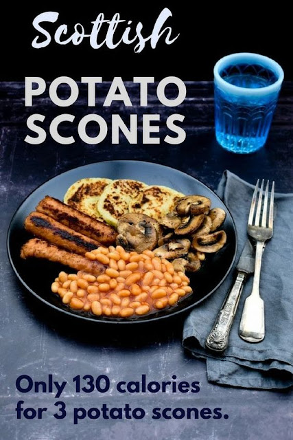A simple recipe for potato scones with step-by-step photos and a guide on how to cook a full cooked vegan breakfast. Only 130 calories for 3 potato scones. #tattiescones #potatoscones #scottishtattiescones #scottishrecipe #vegan #veganbreakfast #breakfast