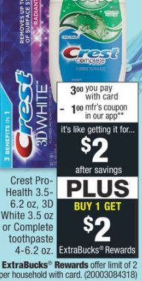 FREE Crest Pro-Health Toothpaste at CVS
