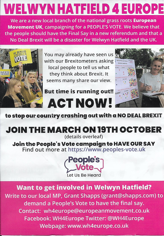 Campaign leaflets are being handed out in Welwyn Hatfield