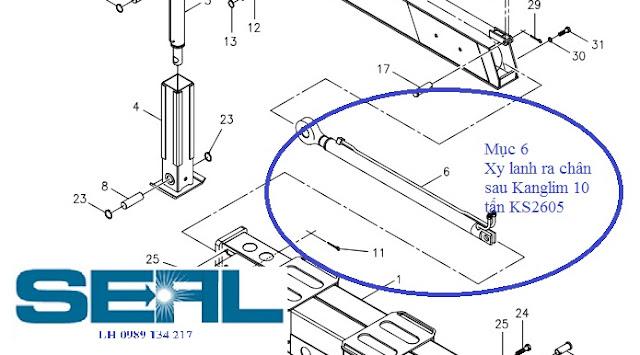 Xy lanh ra chân sau lắp cho cẩu Kanglim 10 tấn  KS2605-H1021454