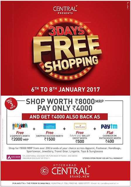 Free shopping at Central for three days | January 2017 discount offer