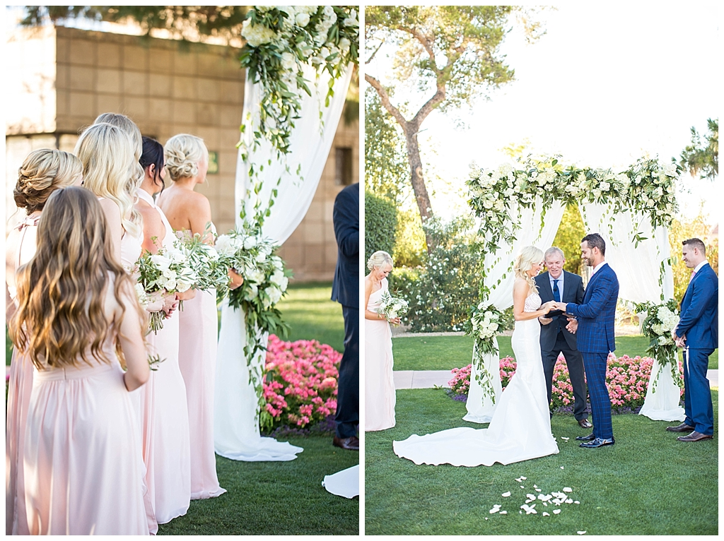bridesmaids in blush pink with white floral bouquets arizona biltmore wedding ceremony