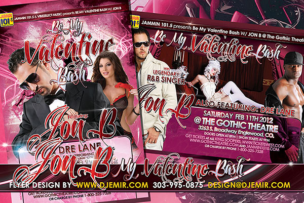 Be My Valentine Bash Flyer Design With Jon B
