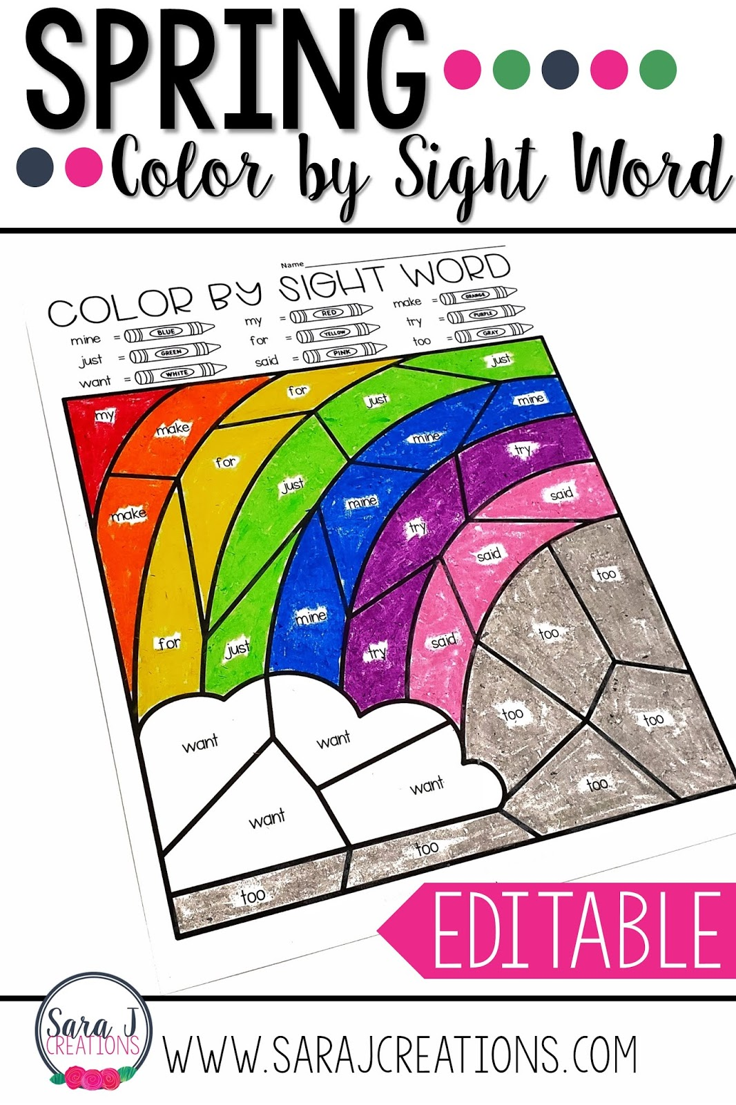 Editable Color By Sight Word For The Whole Year Sara J