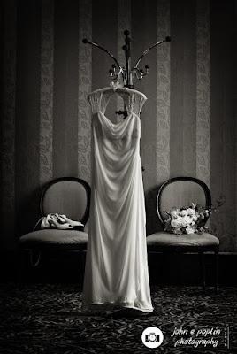 An elegant photograph of the bride's wedding dress in Boulder Colorado