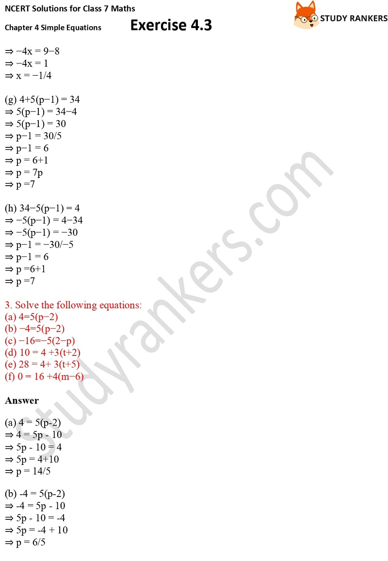 NCERT Solutions for Class 7 Maths Ch 4 Simple Equations Exercise 4.3 4