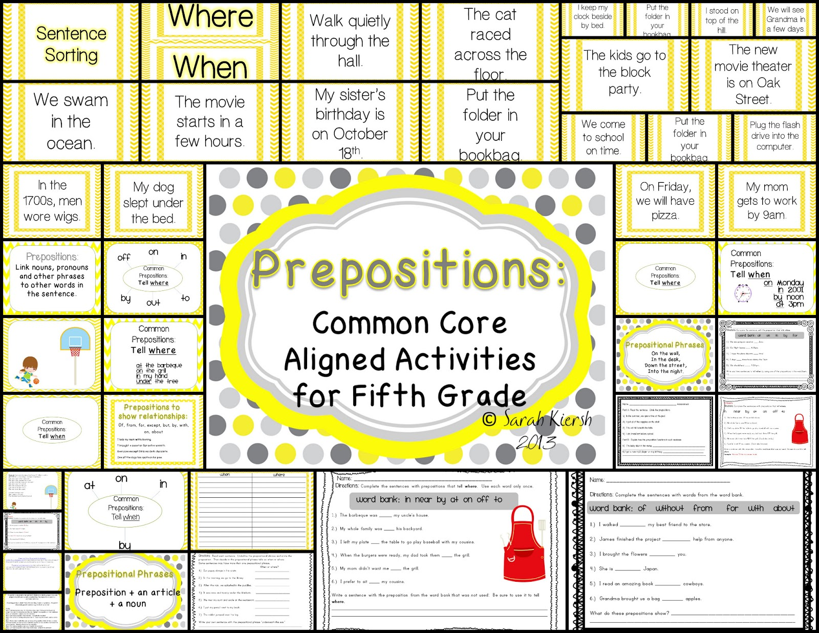 Misskinbk A Fifth Grade Blog Prepositions Mini Unit And A Sunday Sale