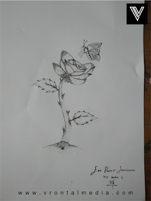 contoh gambar pointilis bunga dan kupu kupu