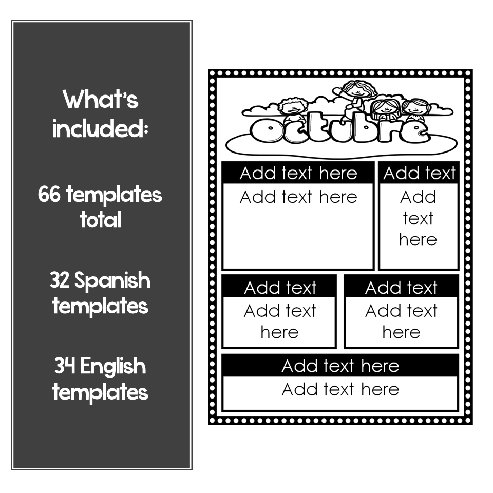 Editable Monthly Newsletter Templates in Spanish and English Version