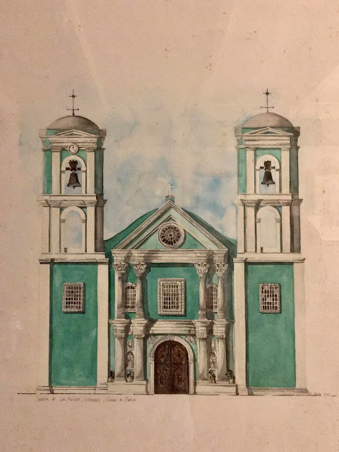 San Agustin Church structure Watercolor Rendering