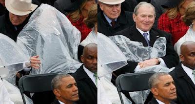 جزء لم تراه بعد من تنصيب ترامب ..انظر ماذا كان يفعل جورج بوش اثناء التنصيب !