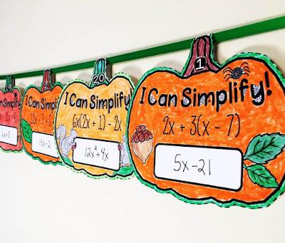Halloween Pumpkin Simplifying Algebraic Expressions Math Pennants