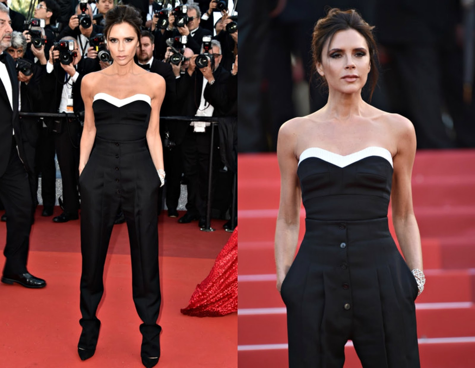 stylefluid trendz victoria beckham looked razor sharp in a jumpsuit