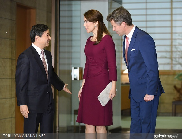 Danish Crown Prince Frederik and his wife Crown Princess Mary is welcomed by Japanese Crown Prince Naruhito upon their arrival for a dinner at the Akasaka Palace in Tokyo