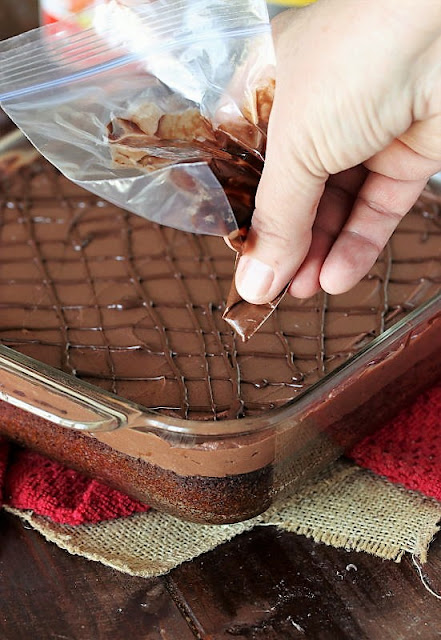 Using Ziploc Bag to Pipe Chocolate Drizzle on Raspberry Truffle Brownies Image