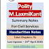 Laxmikanth Indian Polity Hand Written Summary Notes PDF in English Download for Civil Services