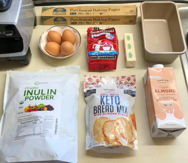 Photo of Wholesome Yum Easy Keto Bread Mix and other ingredients for the keto yeast bread recipe