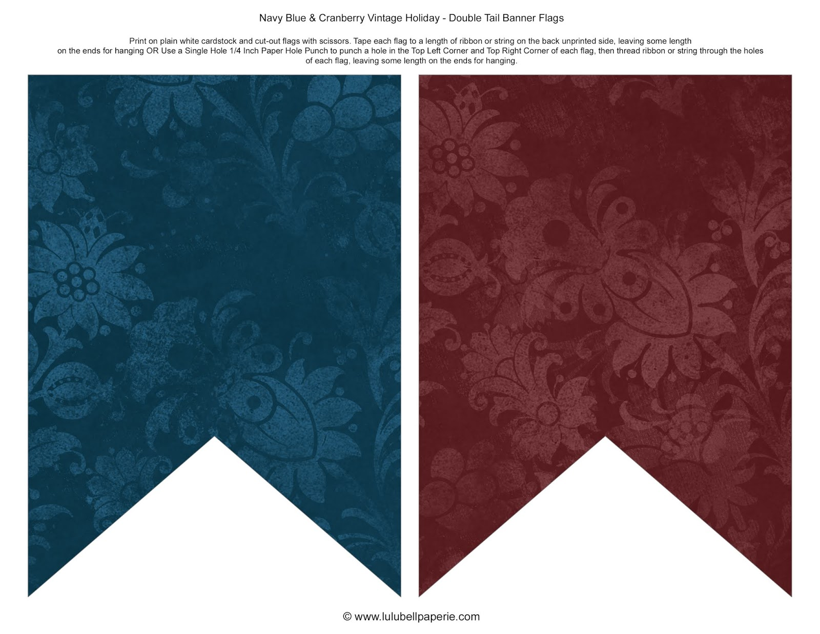 Free Christmas Holiday Bunting Banner Sheet Printable - Navy Blue & Burgundy Pattern