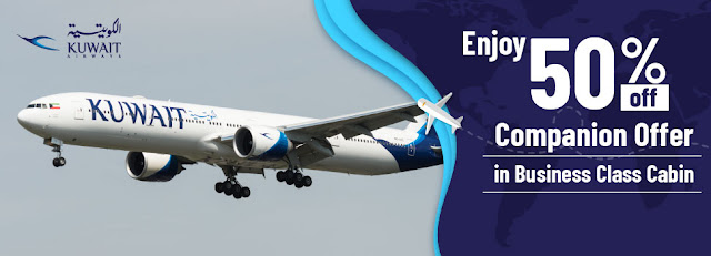 Buy one & get one at 50%  Kuwait Airways Companion Fares in Business class    ENJOY 50% OFF ON YOUR COMPANION`S FARE ONLY WITH KUWAIT AIRWAYS    More details:  Booking validity: 24th Jan 2020 to 09th Feb 2020  Travel validity: 24th Jan 2020 to 15th May 2020    Hurry, Book Now    Terms & Conditions:  Seats are limited and available on a first-come, first-serve basis. Flight Seats are subject to availability and fares are subject to change without prior notice. Date change, Rebooking, Refund charges and Cancellation charges will be applicable as per the fare rules. The terms and conditions of this offer are subject to change without any prior notice.