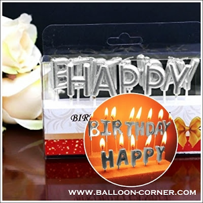 Lilin Ultah Motif HAPPY BIRTHDAY Warna Silver
