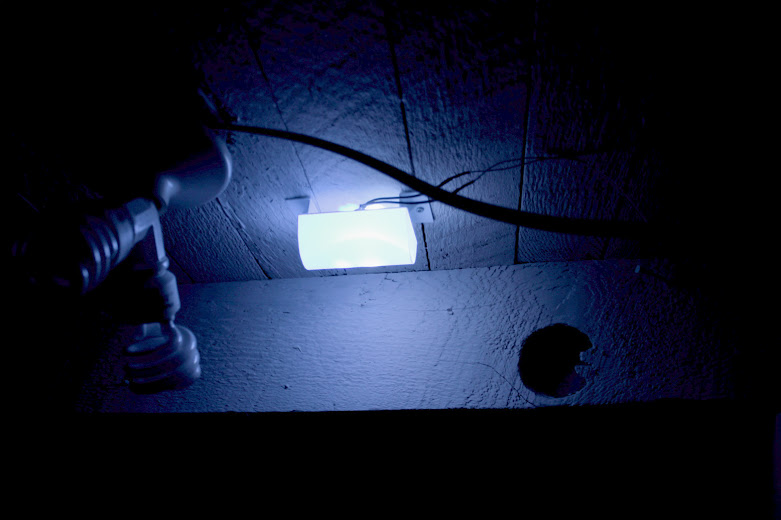 Custom built styrene light diffuser with blue and white LED lights creates a nighttime glow