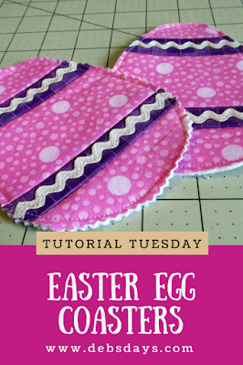 Homemade Easter Egg Drink Coasters Made with Fabric Scraps Sewing Project