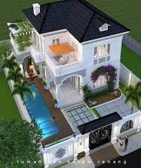 desain rumah dengan kolam renang dan taman