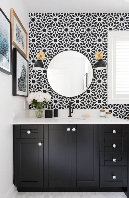 bathroom interior design geometric floral modern