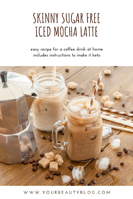 How to make a skinny iced mocha latte recipe. This is like a Starbucks or Dunkin Donuts drinks, but it's a lot cheaper and has fewer calories and sugar.  This is an easy coffee drink to make at home.  Make a healthy Starbucks drinks low calories at home.  Also includes options to make it a keto coffee drink with coconut oil or MCT oil. #coffee #icedcoffee #icedlatte #mochalatte