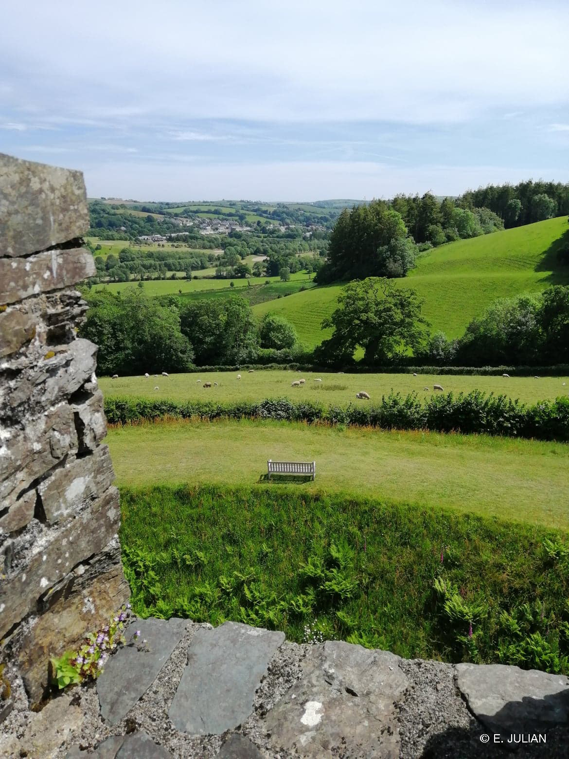 The view from the top of Restormel Castle towards Lostwithiel