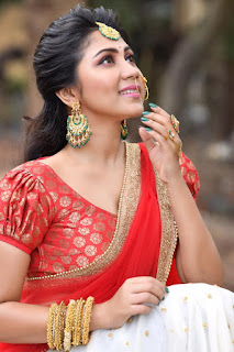 Meghali Hot Photos In Red Half Saree