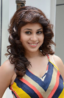 Hamida looks cute spicy in Long dress with a plunging neckline at Bhadram Be Careful Brother Press Meet