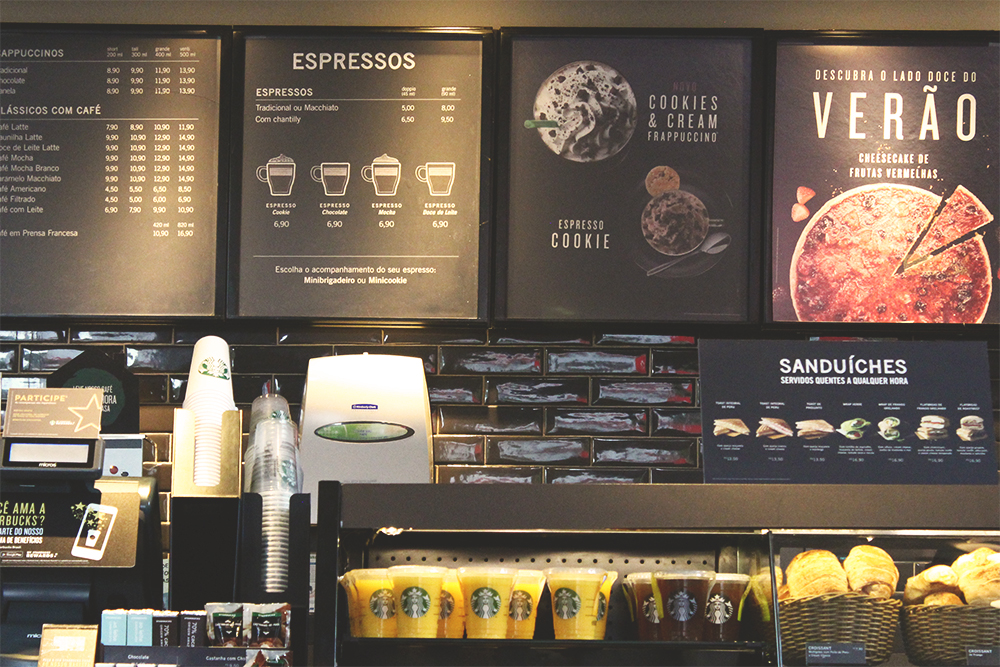 menu parede cafeteria starbucks