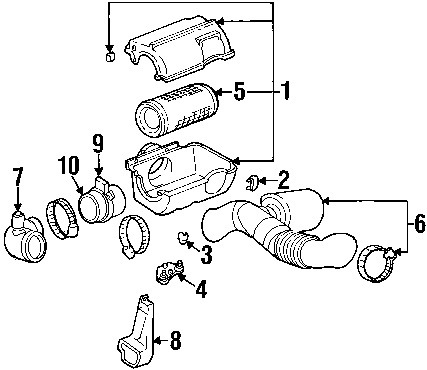 GMC C1500 2001 Pickup Air Intake Cleaner Diagram