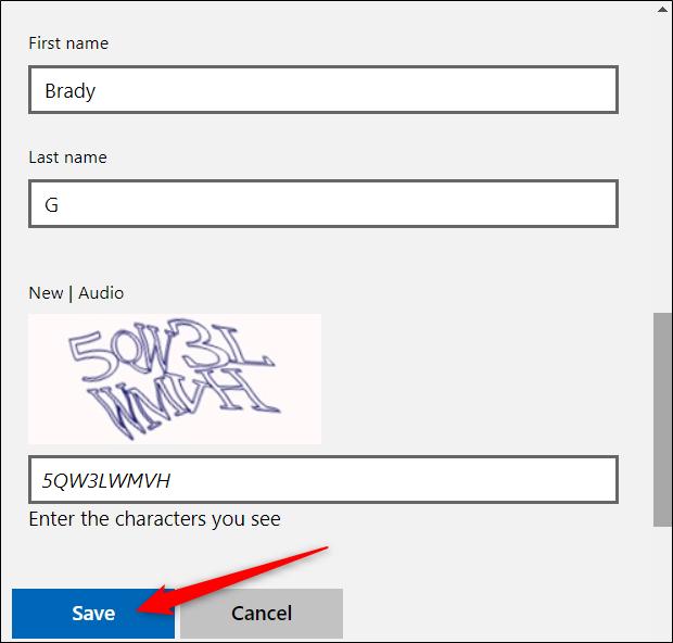 """أدخل اسمك الجديد (الأسماء الأولى والأخيرة) ، متبوعًا بتحدي اختبار CAPTCHA.  انقر فوق """"حفظ"""" عند الانتهاء."""